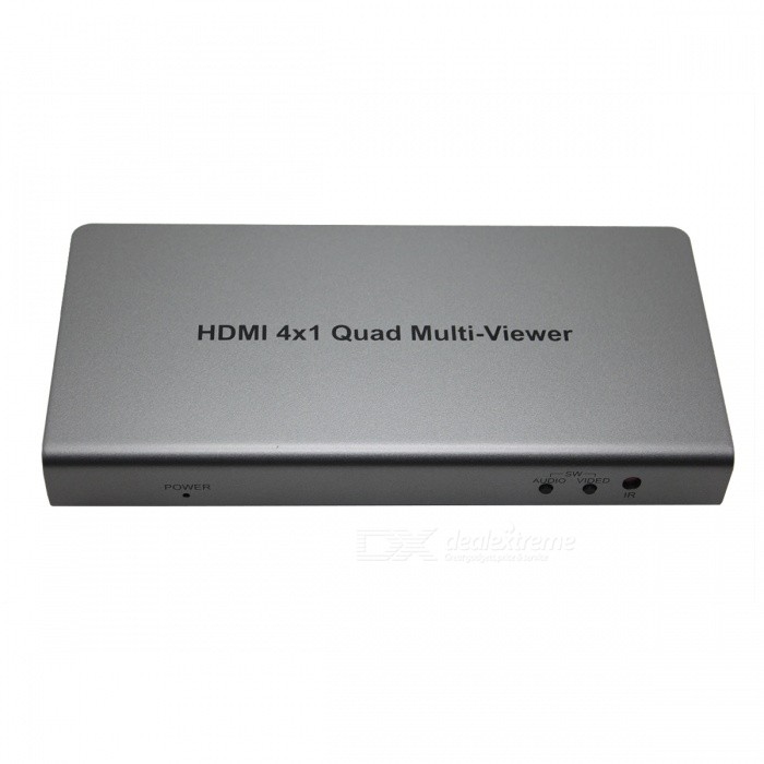 HDMI 4x1 1080P Four Image Segmentation Seamless Switcher ConverterAV Adapters And Converters<br>Form  ColorSilver GreyMaterialAluminum alloy + Optical glassQuantity1 DX.PCM.Model.AttributeModel.UnitShade Of ColorSilverConnectorHDMIPower AdapterEU PlugPower SupplyInput : 100~240V 0.7A 50/60Hz<br>Output: 12V  2000mAPacking List1 x HDMI 4x1 quad multi-viewer 1 x 12V/ 2A power adapter1 x IR cable1 x Remote contro1 x English &amp; Chinese user manual<br>