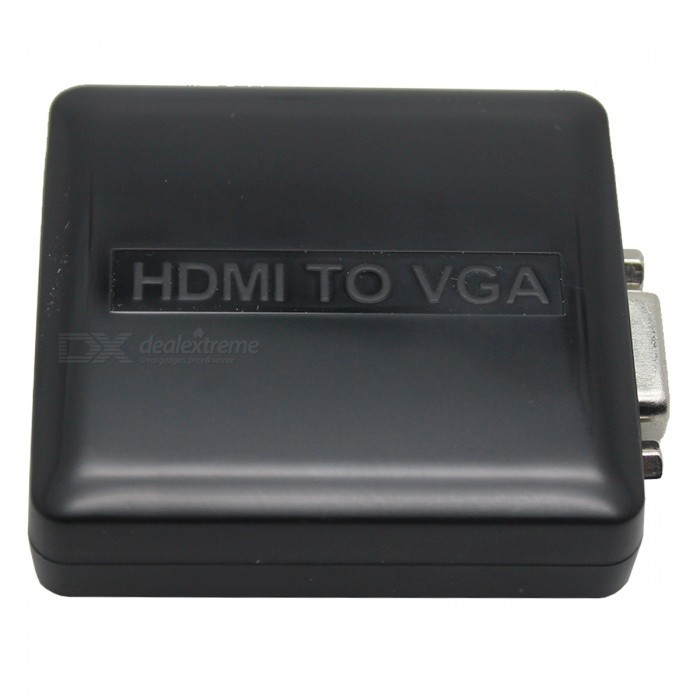 1080P Mini HDMI VGA + r / l audio-muunnin adapteri - musta