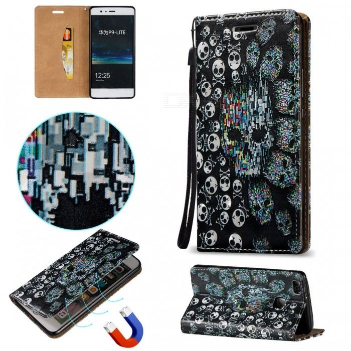 BLCR 3D Embossed Skull Pattern Magnetic PU Case for Huawei P9 Lite