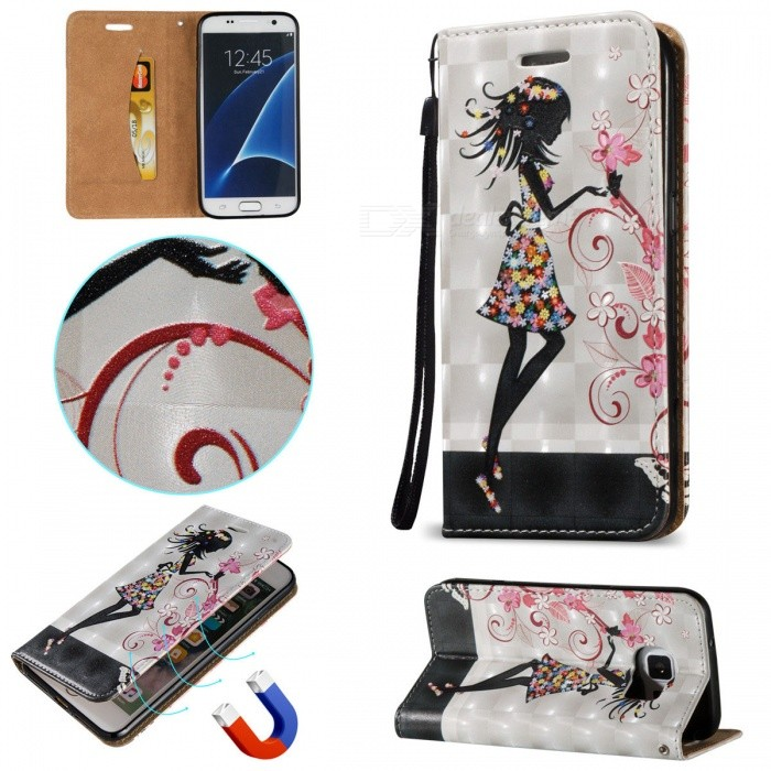 BLCR 3D Flower Girl Pattern Magnetic Case for Samsung Galaxy S7Leather Cases<br>Form  ColorWhite + MulticolorModelN/AMaterialPU + TPUQuantity1 DX.PCM.Model.AttributeModel.UnitShade Of ColorWhiteCompatible ModelsSamsung Galaxy S7FeaturesAnti-slip,Dust-proof,Shock-proof,Abrasion resistance,Easy-to-remove,Holder functionPacking List1 x Case1 x Strap<br>