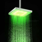 8 Inch Grade A ABS Chrome Finish Square RGB LED Rainfall Shower Head