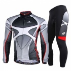Outdoor Sports Anti-Fade Cycling Polyester + Mesh Fabric Long-Sleeve Jersey + Pant Suit
