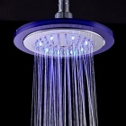 "8"" Grade A ABS Chrome Finished RGB LED Temperature Control Rain Shower Head - Silver + Blue"