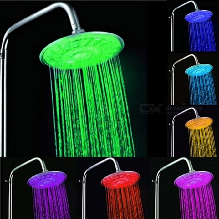Grade A ABS Chrome Finish 7-Color Changing LED Showerhead - Silver