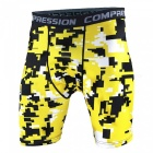 Outdoor Men's Sports Fitness Camouflage Shorts - Yellow (L)