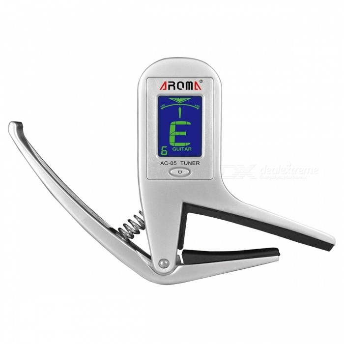 Aroma AC-05 2-in-1 Portable Clip-on Guitar Tuner w/ Capo for Guitar