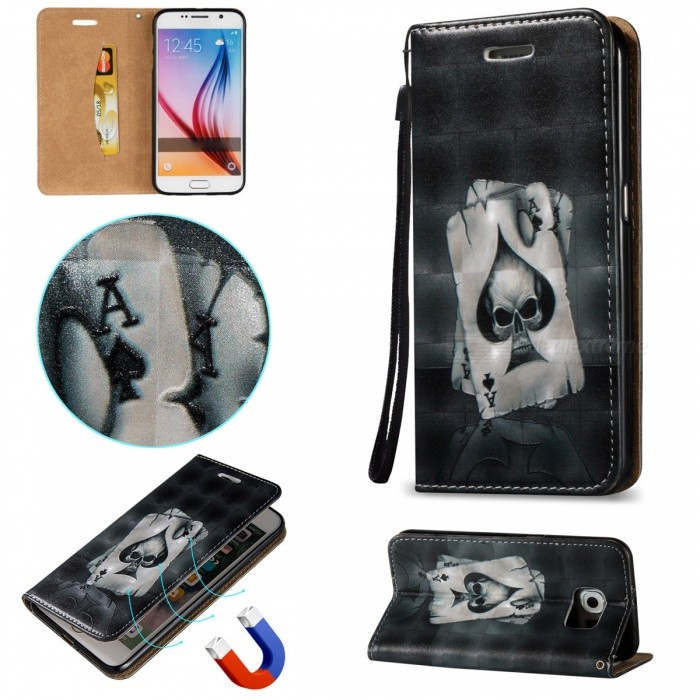 3D Embossed Poker Pattern Magnetic PU Case for Samsung Galaxy S6