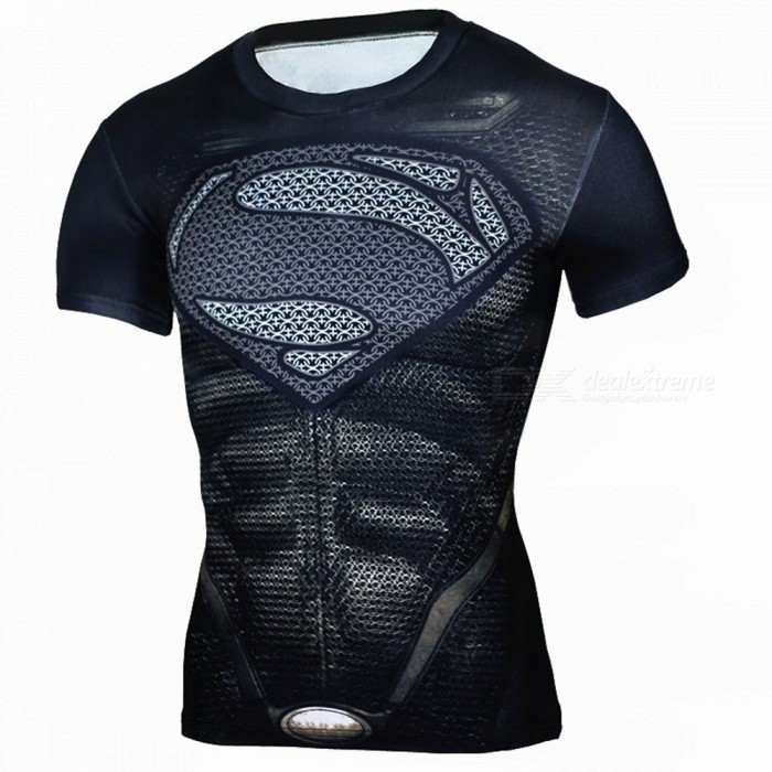 Outdoor Black Superman Pattern Short Sleeve Mens T-shirt - Black (XL)Form ColorBlackSizeXLModelA-2493Quantity1 DX.PCM.Model.AttributeModel.UnitMaterialPolyesterShade Of ColorBlackSeasonsSpring and SummerGenderMensShoulder Width43 DX.PCM.Model.AttributeModel.UnitChest Girth93-112 DX.PCM.Model.AttributeModel.UnitSleeve Length19 DX.PCM.Model.AttributeModel.UnitTotal Length64 DX.PCM.Model.AttributeModel.UnitBest UseCross-training,Yoga,Running,Climbing,Rock Climbing,Family &amp; car camping,Backpacking,Camping,Mountaineering,Travel,Cycling,Triathlon,Cross-trainingSuitable forAdultsPacking List1 x Mens T-shirt<br>
