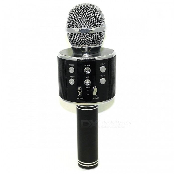 WS-858 Wireless Bluetooth HIFI Karaoke Microphone - BlackMicrophones<br>Form  ColorBlackModelWS-858Quantity1 DX.PCM.Model.AttributeModel.UnitShade Of ColorBlackMaterialAluminum + ABSInterface3.5mm,USB 2.0Powered ByUSBMicrophone Frequency Response100HZ-10KHZSensitivity-40±3dBMic Polar PatternsCardioidImpedance150 DX.PCM.Model.AttributeModel.UnitOther FeaturesOutput Power:5W<br>Max Sound Pressure Level:.&gt;115DB 1KHZ TDHPacking List1 x Microphone1 x USB Cable1 x Micro USB to Audio Cable1 x User Manual<br>