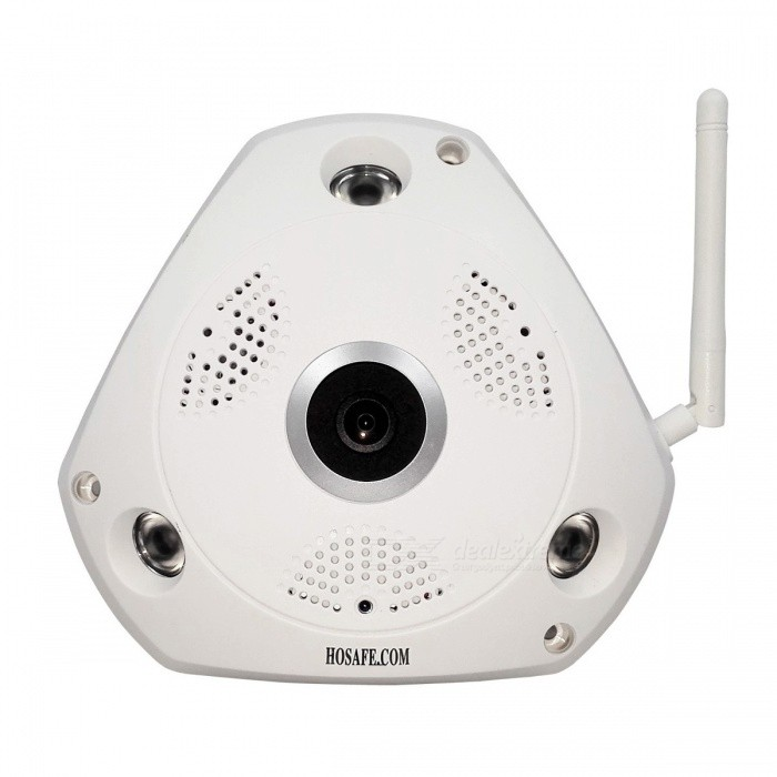 HOSAFE 960P 1.3MP Wi-Fi Fisheye Panoromic VR IP Camera w/ 32GB MemoryIP Cameras<br>Form  ColorWhitePower AdapterUS PlugsModelSVR13MW1MaterialPlasticQuantity1 DX.PCM.Model.AttributeModel.UnitImage SensorCMOSImage Sensor SizeOthers,1/3 InchPixels1.3 Mega pixelLensOthers,1.75mmViewing AngleOthers,360 DX.PCM.Model.AttributeModel.UnitVideo Compressed FormatH.264Picture Resolution1280*960PFrame Rate25fpsInput/OutputBuilt-in microphone + speakerAudio Compression FormatOthers,G711AMinimum Illumination0 DX.PCM.Model.AttributeModel.UnitNight VisionYesIR-LED Quantity3Night Vision Distance9 DX.PCM.Model.AttributeModel.UnitWireless / WiFi802.11 b / g / nNetwork ProtocolTCP,IP,UDP,HTTP,SMTP,DHCP,uPnPSupported SystemsXP,Vista,7Supported BrowserOthers,WINDOWS  CMS softwareSIM Card SlotNoOnline Visitor5IP ModeDynamic,StaticMobile Phone PlatformAndroid,iOSSmart AlarmMotion detectionFree DDNSYesIR-CUTYesBuilt-in Memory / RAM32GBLocal MemoryYesMemory CardMicro SD CardMax. Memory Supported32GBMotorNoRotation Angle360 degreeZoomIntelligent Digital ZoomSupported LanguagesEnglish,Simplified ChineseWater-proofNoRate Voltage12VRated Current1 DX.PCM.Model.AttributeModel.UnitIntercom FunctionYesPacking List1 x Panoromic IP Camera (63cm-cable ±2cm)1 x Power adapter (AC 100~240V / US plug / 120cm-cable)1 x English user manual 1 x Screws kit1 x HOSAFE Warning sticker<br>