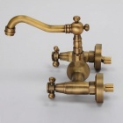 F-0410 Wall Mounted Two-Handle Two-Hole Antique Brass Bathroom Faucet