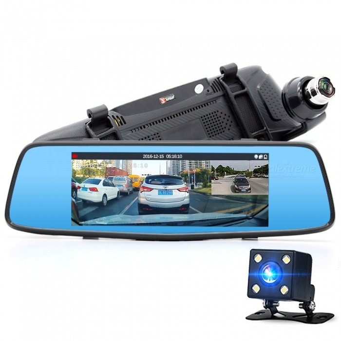 "Junsun H600 7"" Dual Lens Car DVR Camera w/ LDWS ADAS Rear View Mirror"