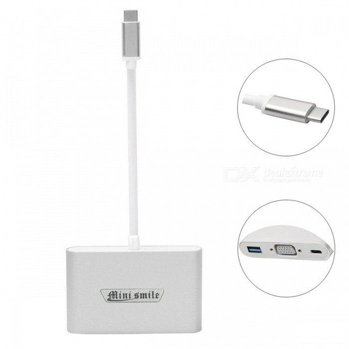 Mini Smile USB 3.1 Type-C M to VGA/ USB 3.0/ Type-C F Adapter - Silver