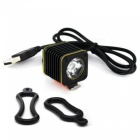 ROBESBON IPX6 Waterproof XML-T6 LED USB Bike Headlight - Black