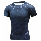 Outdoor Polyester Short-sleeved Round Neck Men's T-Shirt - Black (L)