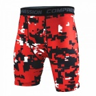 Digital Printed Outdoor Men's Sports Fitness Shorts - Red (L)