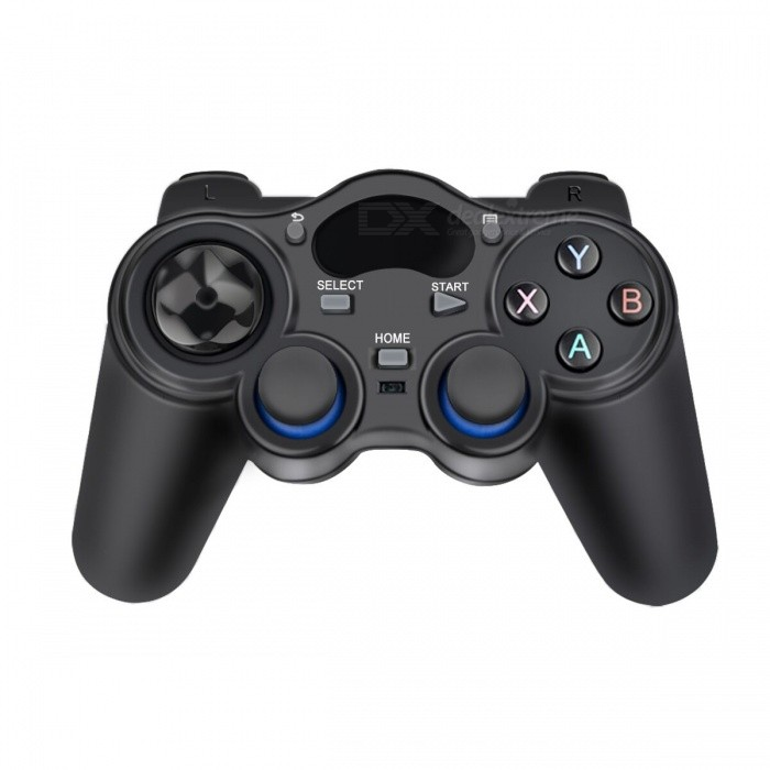 2.4G Wireless Game Controller Gamepad - BlackPC Game Controllers<br>Form  ColorBlackQuantity1 DX.PCM.Model.AttributeModel.UnitMaterialABSShade Of ColorBlackInterfaceUSB 3.0Powered ByAA BatteryWireless or Wired2.4G WirelessVibrationYesSupports SystemWin xpPacking List1 x 2.4G Wireless Gamepad1 x USB Receiver<br>
