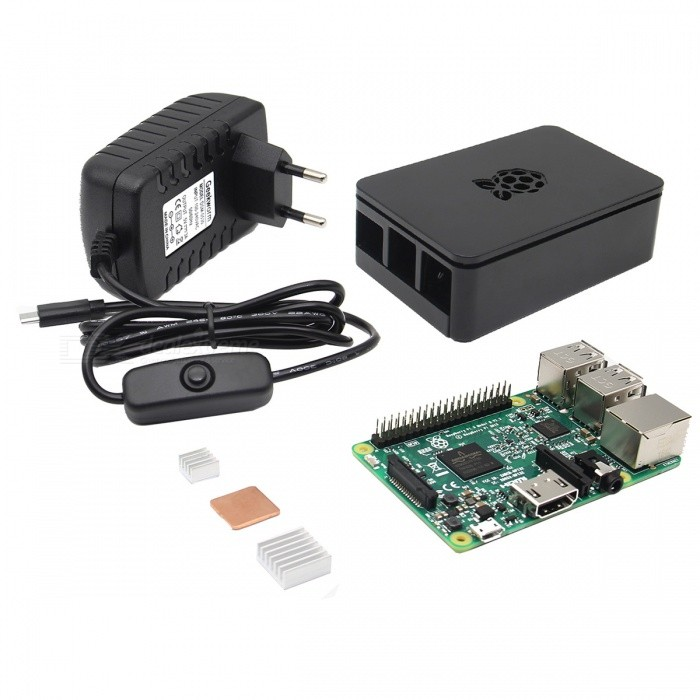 4-in-1 Raspberry Pi 3 Kit - BlackRaspberry Pi<br>Form  ColorBlackModelN/AQuantity1 DX.PCM.Model.AttributeModel.UnitMaterialPCB + SemiconductorEnglish Manual / SpecYesDownload Link   http://www.raspberrypi.org/forums/Packing List1 x Raspberry Pi 3 Model B Board1 x Power supply (Cable length: about 100cm)1 x ABS Case1 x Heat sink (2 x Aluminum  + 1 x Copper)<br>