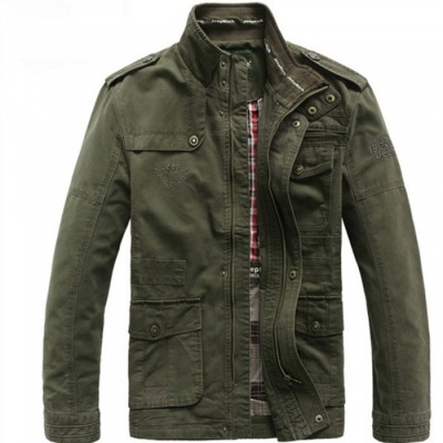 Outdoor Men's Leisure Cotton Stand-Collar Jacket - Army Green (M)