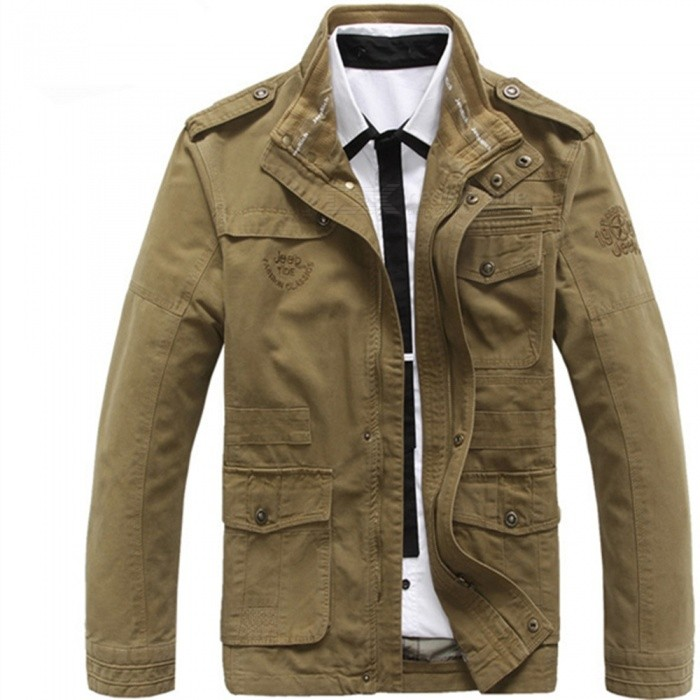 Outdoor Men's Leisure Cotton Stand-Collar Jacket - Khaki (XL)