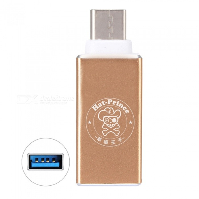 Hat-Prince HC-3 USB 3.0 to USB 3.1 Type-C Adapter Connector - GoldenAdapters &amp; Converters<br>Form  ColorGoldenModelHC-3MaterialAluminum alloy + PVCQuantity1 DX.PCM.Model.AttributeModel.UnitCompatible ModelsDevices with type-c portMain FunctionsData transferConnectorUSB 3.0 Female to USB 3.1 Type-C MaleSplit adapter number-Cable Length0 DX.PCM.Model.AttributeModel.UnitPacking List1 * Adapter<br>