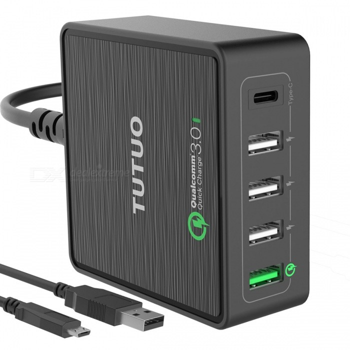TUTUO 40W 5-Ports QC 3.0 USB Type-C Wall Charger - Black (EU Plug)AC Chargers<br>Form  ColorBlackModelQC-025PTMaterialABSQuantity1 DX.PCM.Model.AttributeModel.UnitCompatible ModelsSamsung, LG, Xiaomi, IPHONE, Android &amp; moreInput VoltageAC 100~240 DX.PCM.Model.AttributeModel.UnitOutput CurrentQC 3.0 USB-A port x 1: DC 3.6~6.5V / 3A, 6.5-9Vdc/2A, DC 9~12V/1.5A<br>USB-C port x 1: 5Vdc/3A<br>Standard USB-A port x 3: 5Vdc/2.4A DX.PCM.Model.AttributeModel.UnitOutput Power40 DX.PCM.Model.AttributeModel.UnitOutput VoltageDC 5~9 DX.PCM.Model.AttributeModel.UnitPower AdapterEU PlugLED IndicatorYesCable Length100 DX.PCM.Model.AttributeModel.UnitCertificationCE, RoHS, PSE, FCC, Qualcomm Quick Charge 3.0Packing List1 x USB Quick Charger1 x Power Cable (EU Plug, 100cm)1 x Micro USB Cable (80cm)1 x User Manual<br>