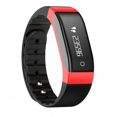 SMAWATCH 8002 Heart Rate Monitoring Smart Bracelet - Black + Red