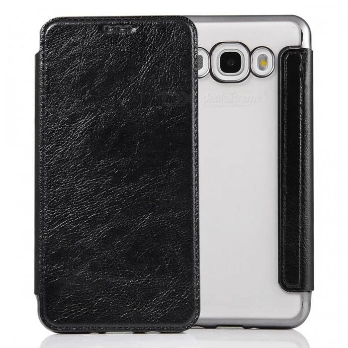 Flip Open PU Leather Case w/ Card Slots for Samsung Galaxy J5 (2016)Leather Cases<br>Form  ColorBlackModelNot specifyMaterialPU + TPUQuantity1 DX.PCM.Model.AttributeModel.UnitShade Of ColorBlackCompatible ModelsSamsung Galaxy J5 / J510 (2016)FeaturesAnti-slip,Dust-proof,Shock-proof,Abrasion resistance,Holder functionPacking List1 x Case<br>