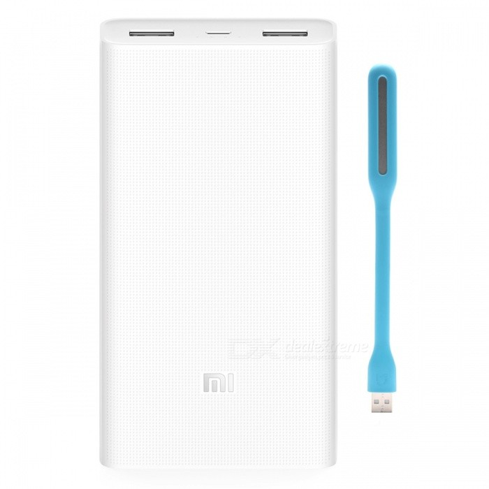 Xiaomi Mobile Power Bank 2 20000mAh + LED Light Enhanced -White + Blue