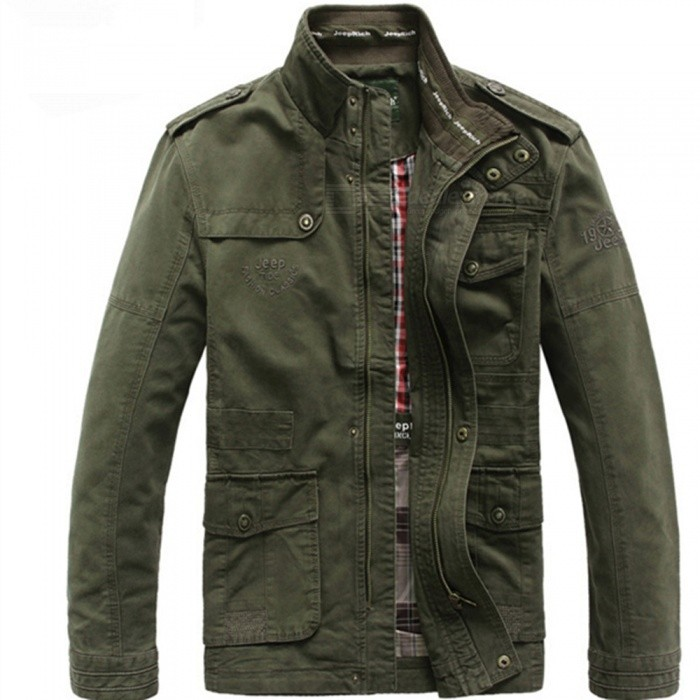 Outdoor Men's Leisure Cotton Stand-Collar Jacket - Army Green (L)