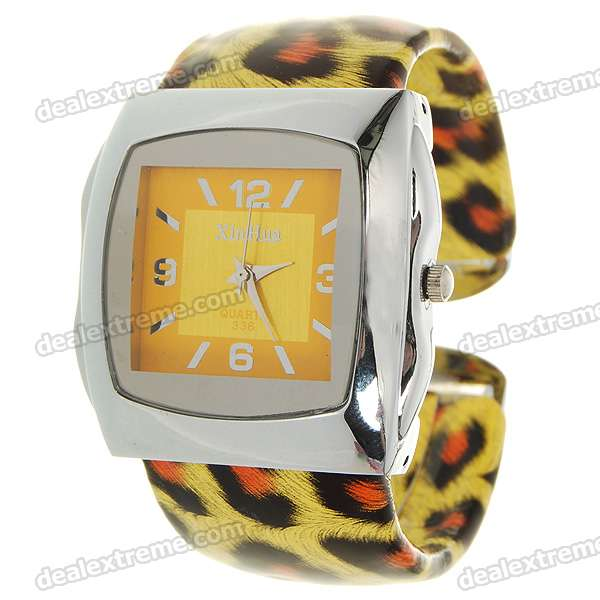 Stylish Bracelet Band Wrist Watch - Yellow Leopard (1*377) stylish 8 led blue light digit stainless steel bracelet wrist watch black 1 cr2016