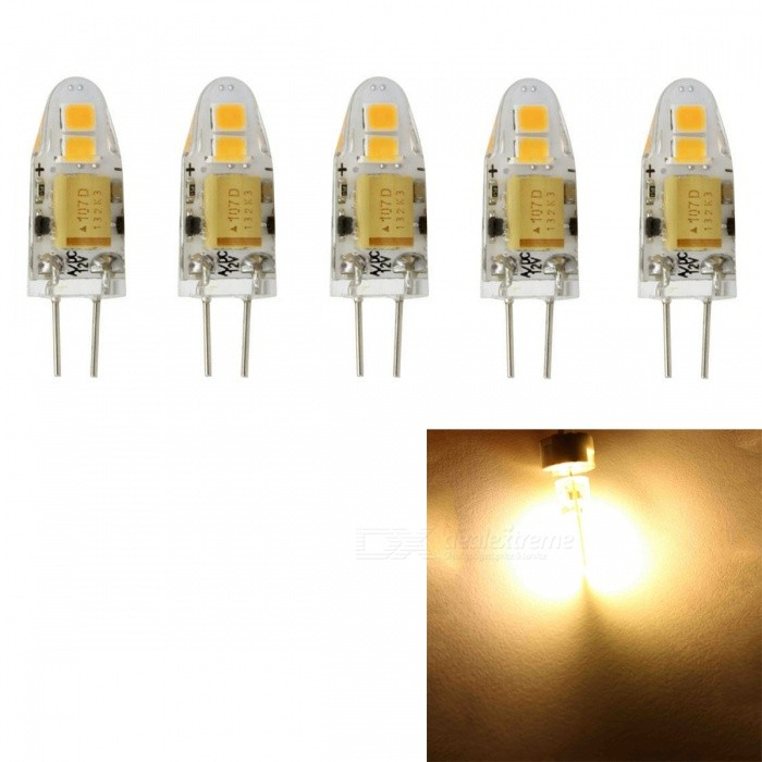JRLED G4 1W 4-SMD 2835 Warm White LED Light Lamp (5 PCS)G4<br>Color BINWarm WhiteMaterialTransparent silica gel + LEDForm  ColorWhite + Yellow + Multi-ColoredQuantity5 DX.PCM.Model.AttributeModel.UnitPowerOthers,1WRated VoltageOthers,AC / DC12 DX.PCM.Model.AttributeModel.UnitConnector TypeG4Chip BrandEpistarChip Type2835 SMDEmitter TypeOthers,2835 SMDTotal Emitters4Theoretical Lumens100 DX.PCM.Model.AttributeModel.UnitActual Lumens90 DX.PCM.Model.AttributeModel.UnitColor Temperature3000KDimmableNoBeam Angle360 DX.PCM.Model.AttributeModel.UnitWavelengthN/ACertificationCE, RoHSOther FeaturesSmall size, high brightness, AC/DC12V power supplyPacking List5 x LED Bulbs<br>