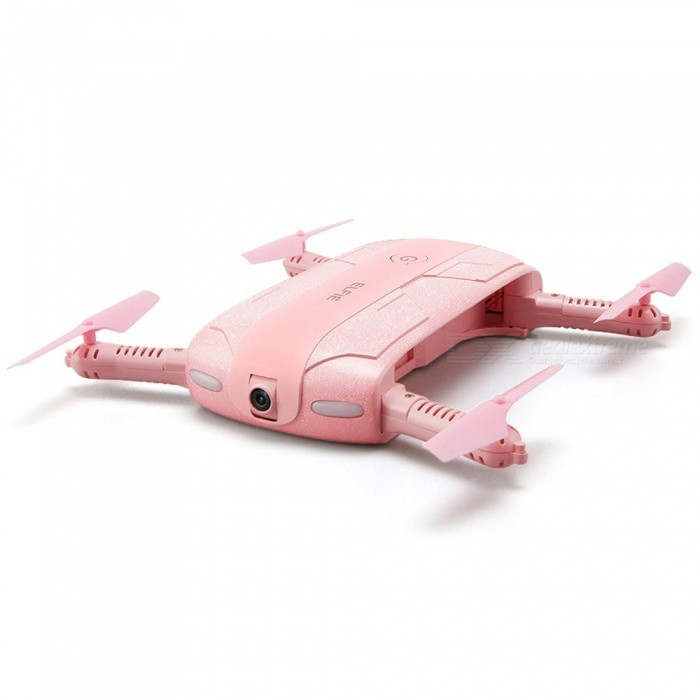 JJRC H37 ELFIE WIFI FPV 720P Mini Drone RC Quadcopter w/ Camera - PinkR/C Airplanes&amp;Quadcopters<br>Form  ColorPinkModelH37 ELFIE - LOVEMaterialABSQuantity1 DX.PCM.Model.AttributeModel.UnitShade Of ColorPinkGyroscopeYesChannels Quanlity4 DX.PCM.Model.AttributeModel.UnitFunctionUp,Down,Left,Right,Forward,Backward,Stop,Hovering,Sideward flightRemote TypeOthers,Wi-Fi without remote control operationRemote control frequencyOthers,N/ARemote Control Range40 DX.PCM.Model.AttributeModel.UnitSuitable Age 12-15 years,Grown upsCameraYesCamera PixelOthers,2.0MPLamp YesBattery TypeLi-ion batteryBattery Capacity500 DX.PCM.Model.AttributeModel.UnitCharging Time120 DX.PCM.Model.AttributeModel.UnitWorking Time7-8 DX.PCM.Model.AttributeModel.UnitRemote Controller Battery TypeOthers,N/ARemote Controller Battery NumberN/ARemote Control TypeOthers,WI-FIModelOthers,N/AOther FeaturesVideo Resolution: 720PPacking List1 x JJRC H37 Quadcopter (built-in 720P HD camera)1 x 3.7V 500mAh Battery1 x USB Charging Cable4 x Spare Propellers1 x English Manual<br>