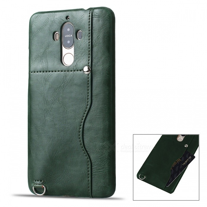 Protective Leather Back Case w/ Card Slot for Huawei Mate 9 - Green