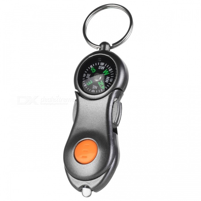 Multi-function Outdoor LED Light + Compass w/ Key Ring - Gray + Orange