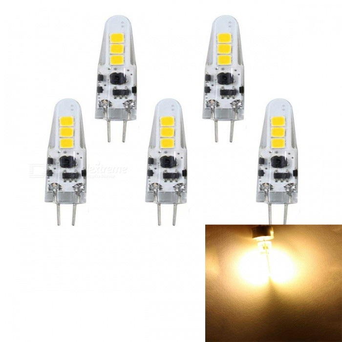 JRLED G4 2W 6-SMD 2835 Warm White LED Light Lamp (5 PCS)G4<br>Color BINWarm WhiteMaterialTransparent silica gel + LEDForm  ColorWhite + Yellow + Multi-ColoredQuantity5 DX.PCM.Model.AttributeModel.UnitPower2WRated VoltageOthers,AC / DC12 DX.PCM.Model.AttributeModel.UnitConnector TypeG4Chip BrandEpistarChip Type2835 SMDEmitter TypeOthers,2835 SMDTotal Emitters6Theoretical Lumens200 DX.PCM.Model.AttributeModel.UnitActual Lumens180 DX.PCM.Model.AttributeModel.UnitColor Temperature3000KDimmableNoBeam Angle360 DX.PCM.Model.AttributeModel.UnitWavelengthN/ACertificationCE, RoHSOther FeaturesSmall size, high brightness, AC / DC12V power supplyPacking List5 x G4 Led Bulbs<br>