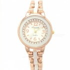 Fashionable Round Dial Analog Quartz Wrist Watch for Women - Golden + White (1 x LR626)