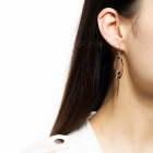 Two-Tone Oval Shaped Hoop Earrings for Women - Rose Golden (Pair)