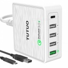 TUTUO 40W 5-Ports QC3.0 + Type-C Desktop Wall USB Charger (US Plug)