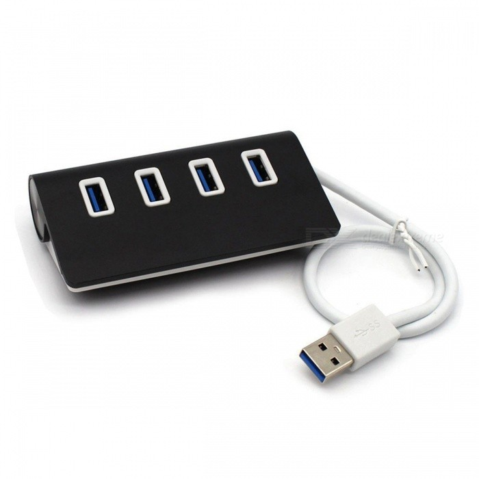 5Gbps High-Speed Aluminum Alloy USB 3.0 4 Port Hub - Black