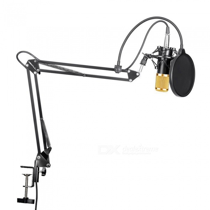 Professional Studio Broadcasting Recording Condenser Microphone KitMicrophones<br>Form  ColorBlackish GoldenModelMP800Quantity1 DX.PCM.Model.AttributeModel.UnitShade Of ColorBlackMaterialSteel net + zinc alloy hand holding partInterface3.5mmPowered ByPower FreeMicrophone Frequency Response20Hz~20kHzSensitivity45dB±1dBMic Polar PatternsCardioidImpedanceUP 1000 DX.PCM.Model.AttributeModel.UnitPacking List1 x Microphone1 x Shock mount1 x Power cord1 x Anti-wind foam cap1 x Microphone pop filter wind screen1 x Arm stand body1 x Clip1 x Mounting base1 x Screw nut1 x XLR male to XLR female cable1 x User manual<br>