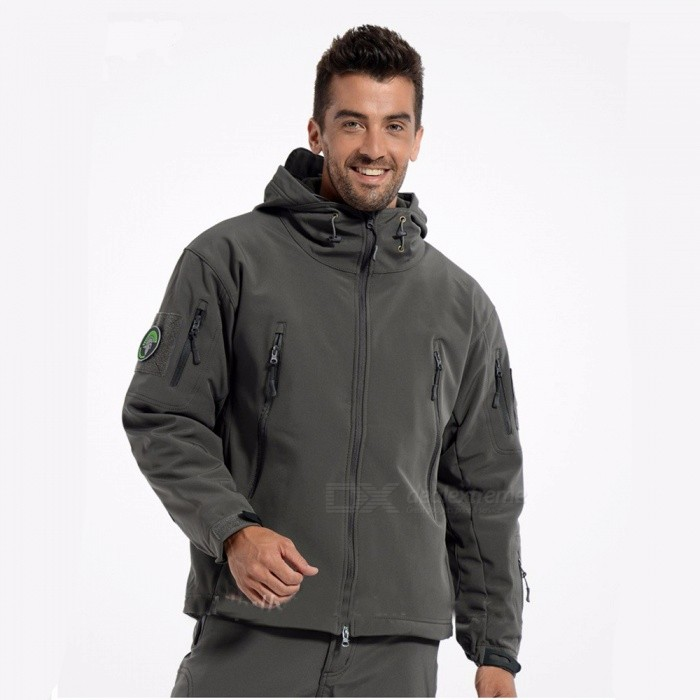 Shark Skin Soft Shell Army Coat Mens Waterproof Jacket - Gray (S)Jackets and Coats<br>Form  ColorGreySizeSQuantity1 DX.PCM.Model.AttributeModel.UnitShade Of ColorGrayMaterialPolyester,CottonStyleSportsTop FlyZipperShoulder Width50 DX.PCM.Model.AttributeModel.UnitChest Girth110 DX.PCM.Model.AttributeModel.UnitSleeve Length60 DX.PCM.Model.AttributeModel.UnitTotal Length65-70 DX.PCM.Model.AttributeModel.UnitSuitable for Height165-170 DX.PCM.Model.AttributeModel.UnitPacking List1 x Jacket<br>