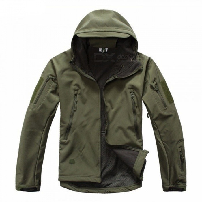 Shark Skin Soft Shell Men's Waterproof Coat Jacket - Army Green (M)