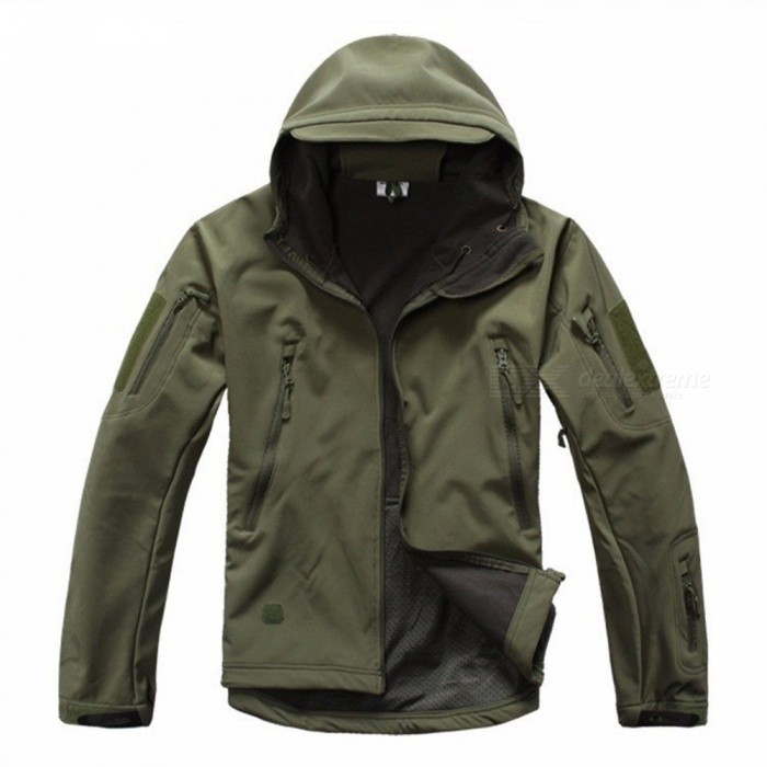 Shark Skin Soft Shell Men's Waterproof Coat Jacket - Army Green (XL)