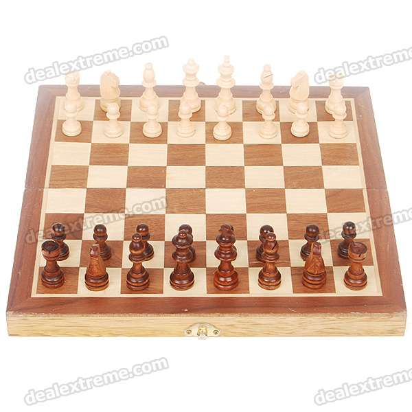 Portable Chess Game Set in Wooden Box - Coffee + Yellow