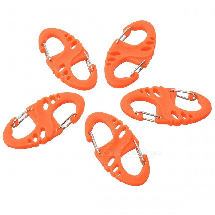 AoTu S Shaped Plastic + Stainless Steel Quick Buckle CarabinerForm ColorOrangeQuantity5 DX.PCM.Model.AttributeModel.UnitMaterialPlastic + stainless steelBest UseFamily &amp; car camping,Mountaineering,Travel,CyclingTypeCarabinersOther FeaturesLightweight and convenient to use; Can carry keys, small gadgets, etc.Packing List5 x Carabiners<br>