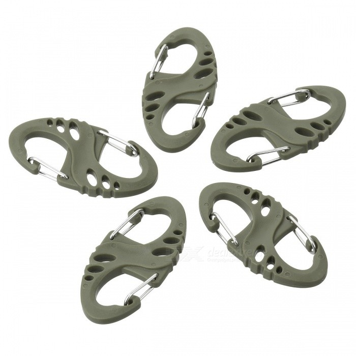 AoTu S Shaped Plastic + Stainless Steel Quick Buckle CarabinerForm ColorArmy GreenQuantity5 DX.PCM.Model.AttributeModel.UnitMaterialPlastic + stainless steelBest UseFamily &amp; car camping,Mountaineering,Travel,CyclingTypeCarabinersOther FeaturesLightweight and convenient to use; Can carry keys, small gadgets, etc.Packing List5 x Carabiners<br>