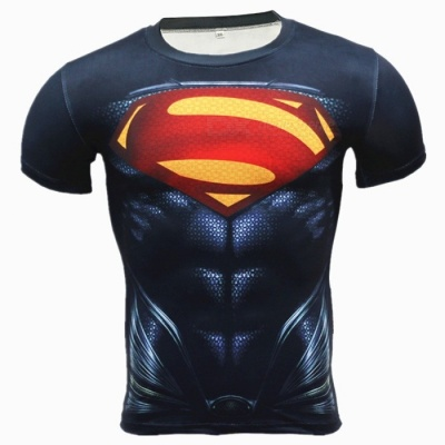 Outdoor Superman Pattern Short Sleeve Men's T-shirt - Black (M)