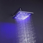 "10"" Contemporary Chrome Brass Square LED RGB Rain Shower Head - Silver"
