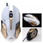 X10 7-Key 2400dpi Colorful LED Backlit Optical Wired Mouse - White